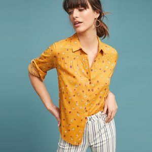 Maeve Calico yellow floral buttondown - size 6